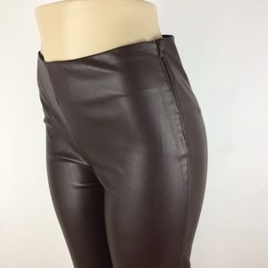 Zara Brown Faux Leather Skinny Pants - Large